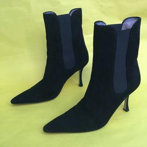 Black Manolo Blahnik suede leather booties
